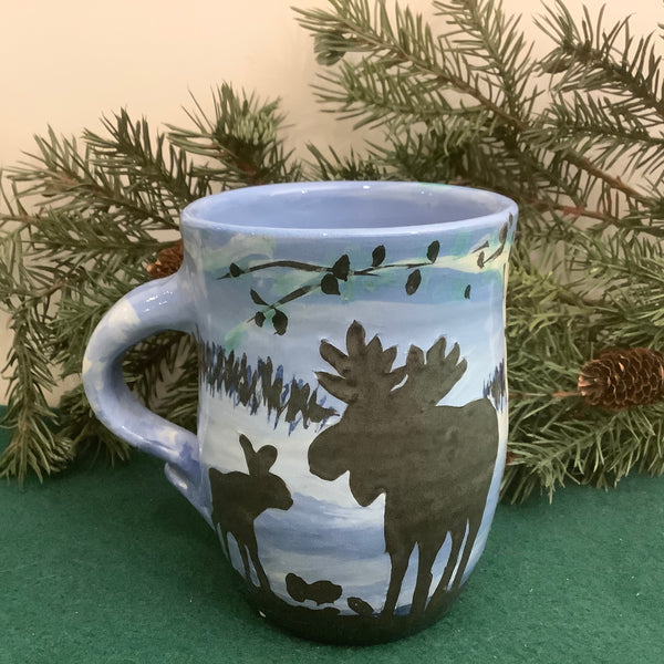 Blue Mug with Moose and Calf