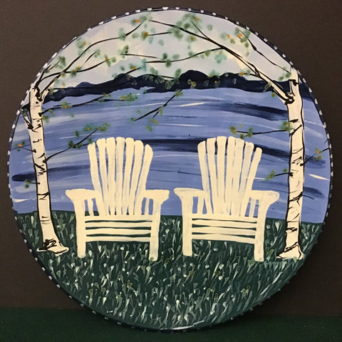Large Round Platter with White Adirondack Chairs and Fall Leaves