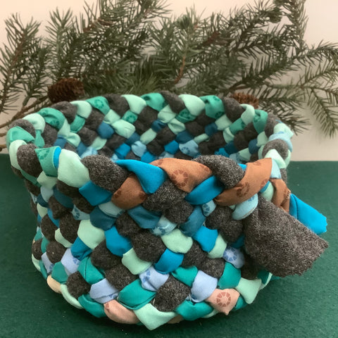 Small Braided Basket in Wool and Cotton Mix, Debbie Orland, Colton, NY