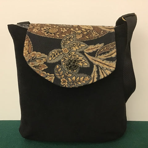 "Large Crossbody Bag, Black ""Suede""with Floral Tapestry Flap"