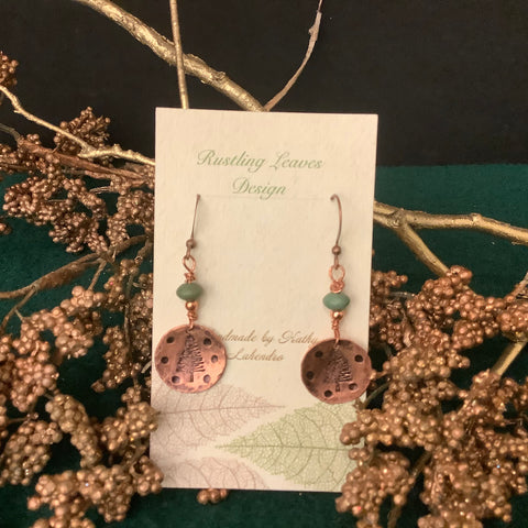 Small Concave Copper Disc Earrings with Stamped Tree and Green Bead, Kathy Lahendro, Potsdam, NY