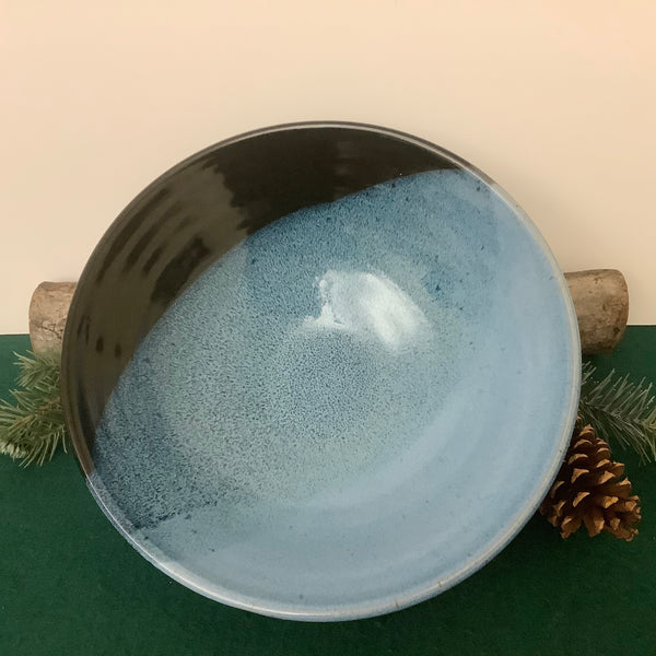 Wide Serving Bowl in Blue to Midnight Black Glaze, Linda Petroccione, DeKalb Junction, NY