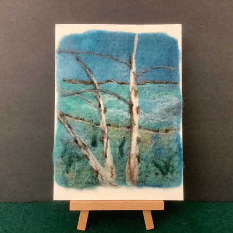"Hand Felted Card ""Birches on Blue""Kathy Montan, Canton, NY"