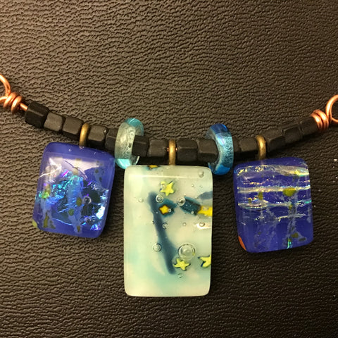 Hand made, hand painted triple glass pendant necklace with beads, Mary Mitchell, Alexandria Bay, NY