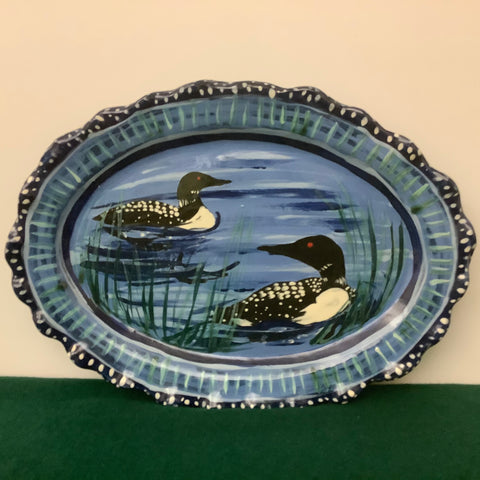 Blue Narrow Fluted Oval Serving Plate with Two Loons