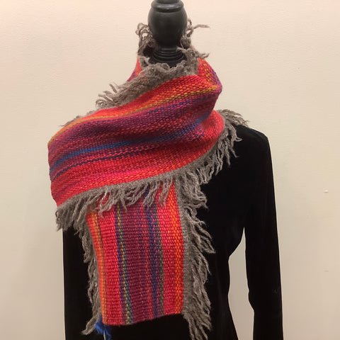 "Handwoven Fringed Scarf ""Sunset"", Kim Davidson"