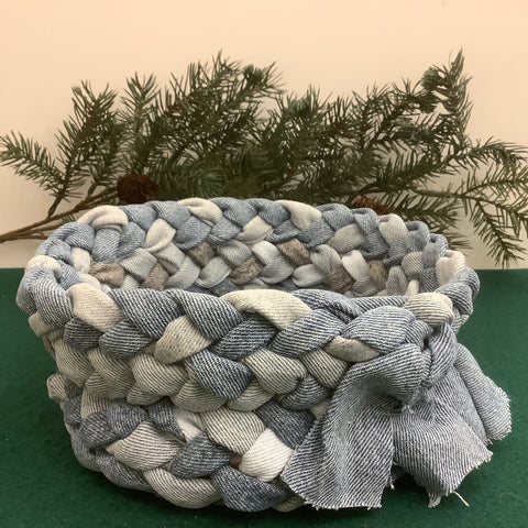 Medium Braided Basket in Blue Denims, Debbie Orland, Colton, NY