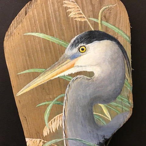 Driftwood Painting Great Blue Heron