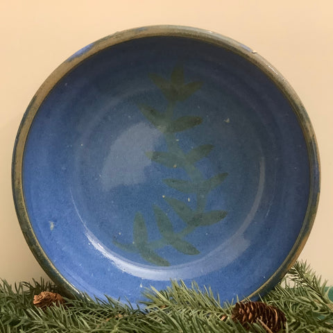 Serving Bowl in Bright Blue with Vine Pattern