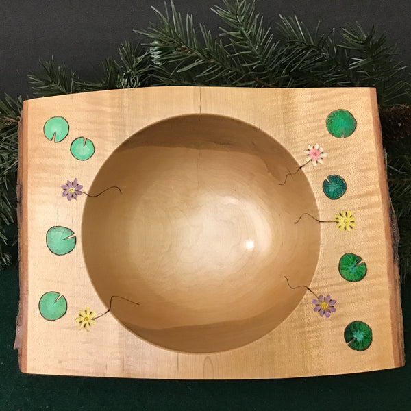 Natural Edge Square Maple Bowl with Waterlily Design , David Buchholz, Augur Lake, Keeseville, NY