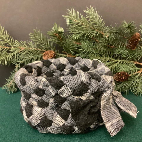 Small Braided Basket in Black and Gray Wool, Debbie Orland, Colton, NY