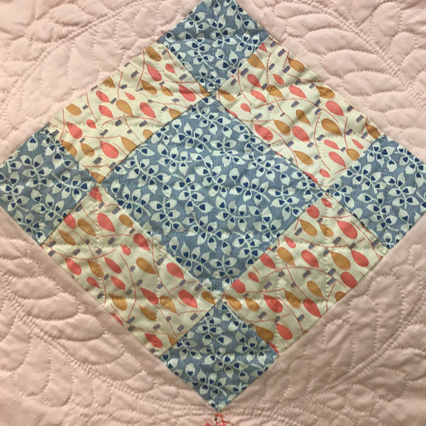 Vintage Block Quilt with Hand Stitched Feather Design, Becky Ellis, Pierrepont Manor, NY