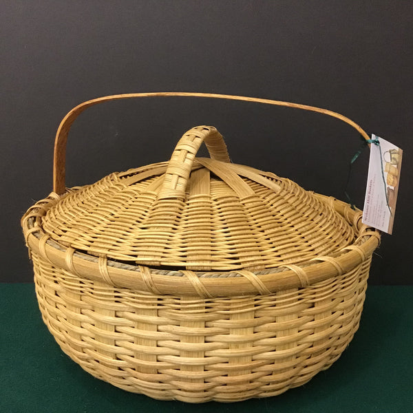 Large Shallow Basket with Cover, Sue Ulrich, Boonville