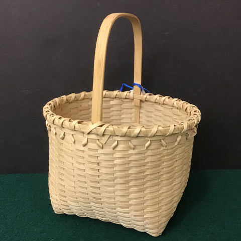 Small Black Ash Basket with Curls and Carved Handle, Sue Ulrich, Boonville, NY
