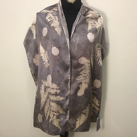 Botanical Gray Print Silk Charmeuse Scarf with Fern and Smokebush, Cris Winters, Saranac Lake, NY