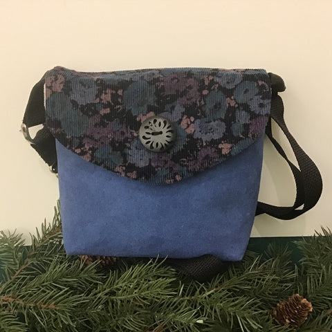 Small Crossbody Bag, Blue Suede with Corduroy Flap