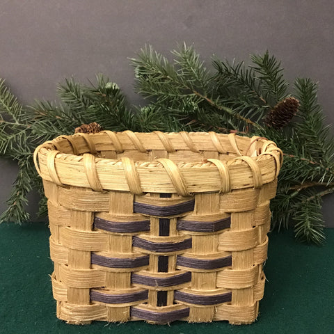 Square Basket with Dark Blue Details, Mountain Weavers' Guild, Port Henry, NY