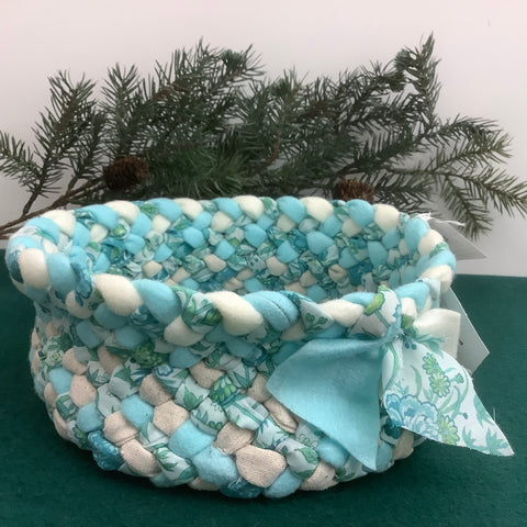 Medium Braided Basket in Aqua and Florals, Debbie Orland, Colton, NY