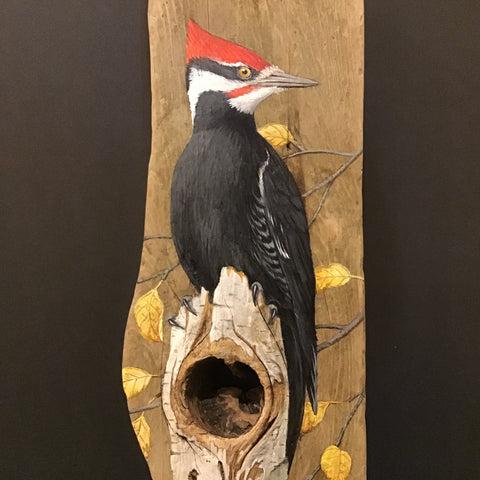 Driftwood Painting Pileated Woodpecker and Fall Leaves