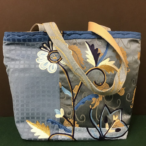 Tote Bag, Blue Embroidered Fabric, Tina Charbonneau, Lake Placid