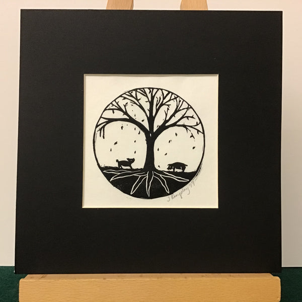 """Root"" Rubber Block Print Matted, Johanna Kingsley, DeKalb Junction, NY"