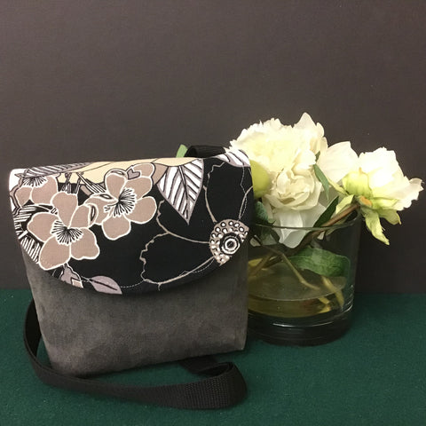Small Crossbody Bag, Gray Suede with Black, Taupe, Gray and White Floral Flap