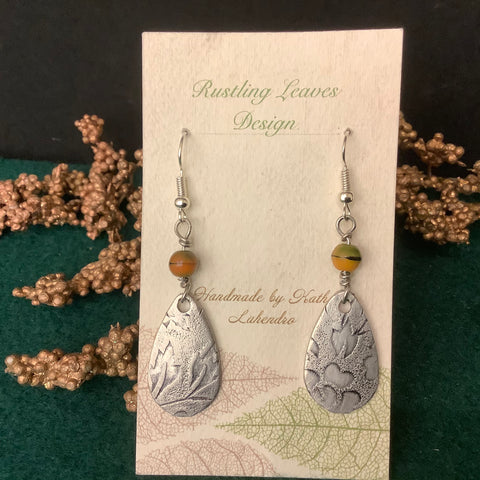 "Pewter Teardrop Earrings with Leaf Design and ""Tiger Eye"" Type Bead  , Kathy Lahendro, Potsdam, NY"