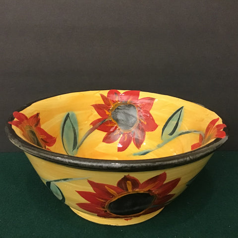 Harvest Yellow Bowl with Large Red Flowers, Roxanne Locy