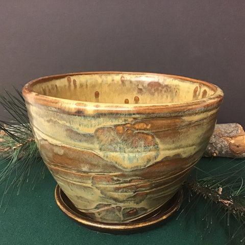 Large Brown Planter with Green Undertones, Joanne Arvisais, Plattsburgh, NY