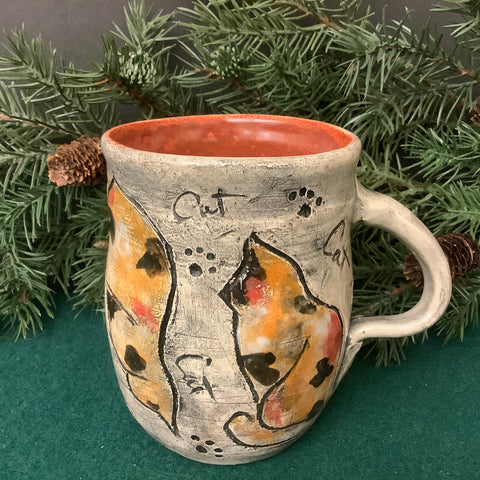 Mug with Carved Calico Cats, Roxanne Locy