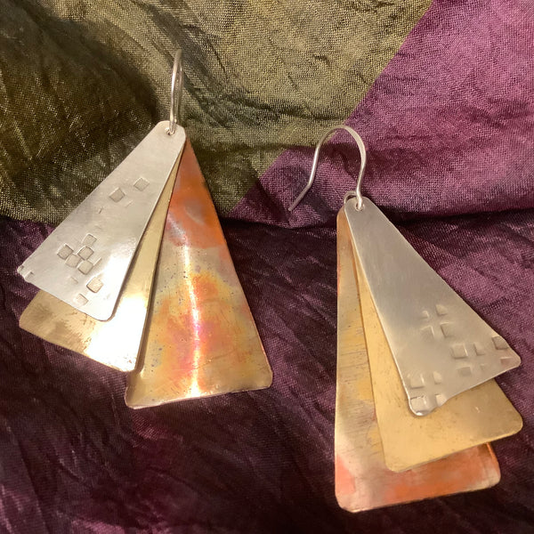Three Overlapping Metal Earrings Drops(#25), Toos Roozen-Evans, Chateaugay Lake, NY