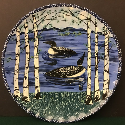 Blue Round Serving Platter with Loons