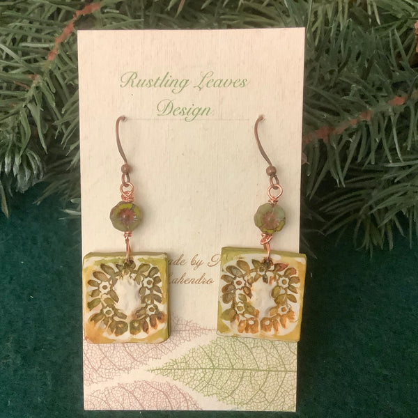 Square Barn Quilt Earrings with Wreath Pattern and Flower Bead, Kathy Lahendro, Potsdam, NY