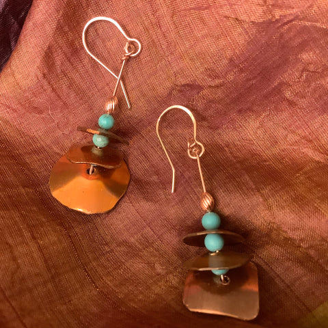 Copper Graduated Triple Disc Earrings with Turquoise Beads(#16), Toos Roozen-Evans, Chateaugay Lake, NY