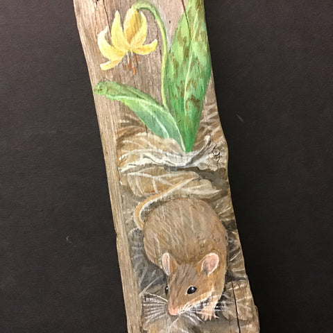 Driftwood Painting Mouse and Trout Lily