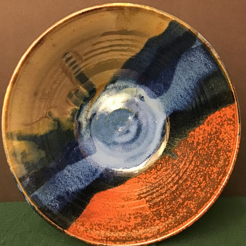Harvest bowl in brilliant blue, rust, gray green