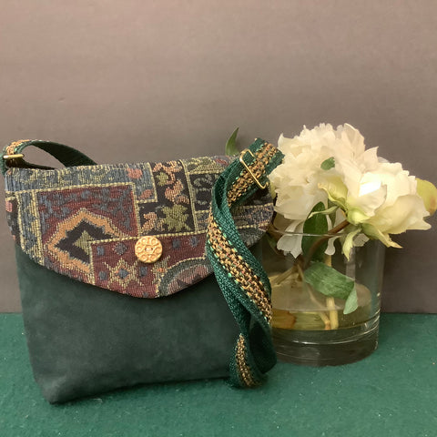 Small Crossbody Bag, Green Suede with Tapestry Flap