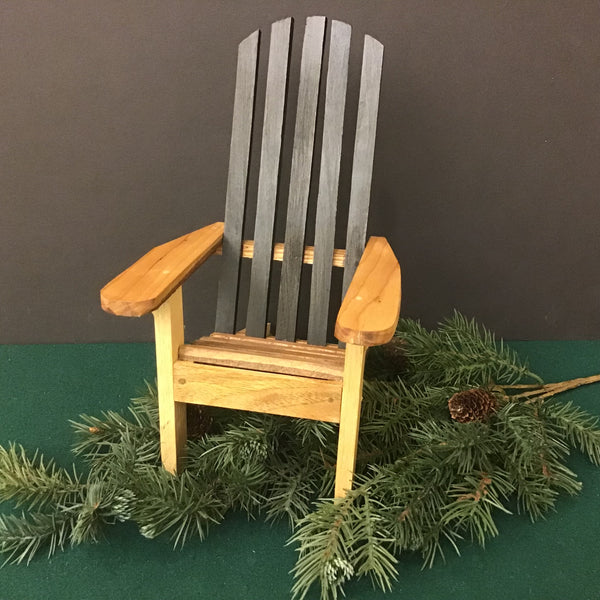 Miniature Hardwood Adirondack Chair with Black Back, Dan Charlebois, Canton, NY