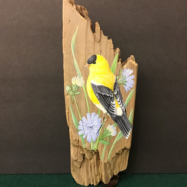 Driftwood Painting Goldfinch and Chicory Flowers