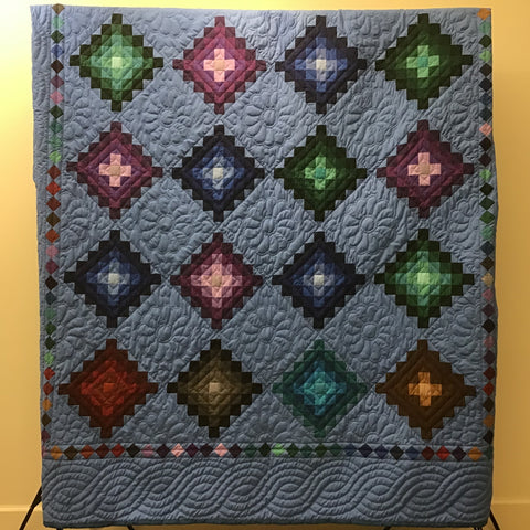 "Queen Size Quilt, ""Postage Stamp"" Pattern, Lizzie Shetler, DeKalb Junction, NY"