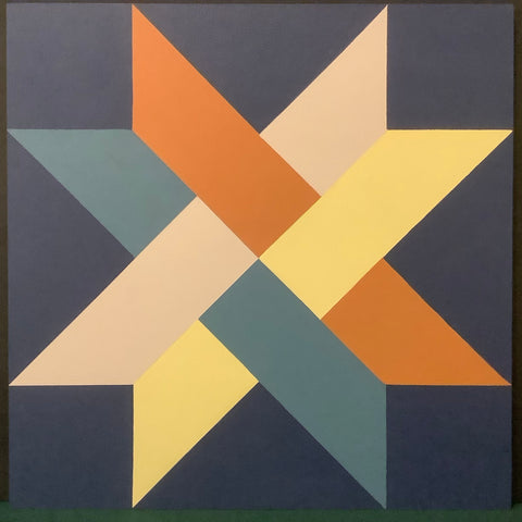 "Large Barn Quilt ""Woven Star"" Pattern 2' x 2', Joan Olin, Canton, NY"