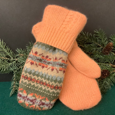 """Upcycled"" Sweater Mittens, Fairisle Style in Gray Green, Beige, Blue and Rose with Peach Cuff , Tina Charbonneau, Lake Placid, NY"