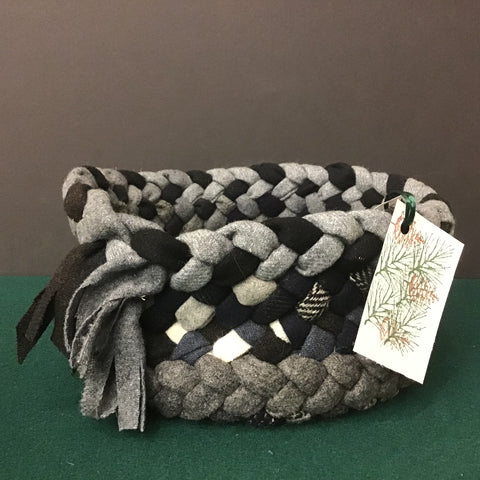 Braided Basket in Grays and Tweeds, Debbie Orland, Colton, NY