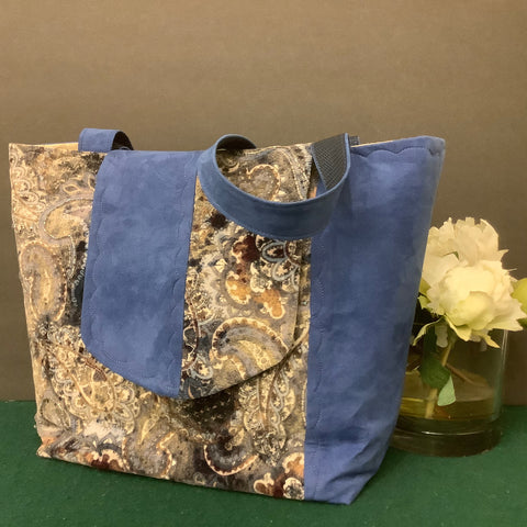 Tote Bag, Beaded Corduroy Fabric and Suede, Tina Charbonneau, Lake Placid
