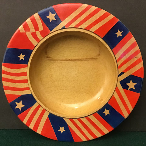 Beech Bowl with Patriotic Design,  David Buchholz, Augur Lake, Keeseville, NY