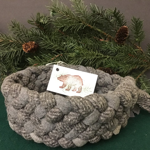 Braided Basket in Gray Plaids, Debbie Orland, Colton, NY