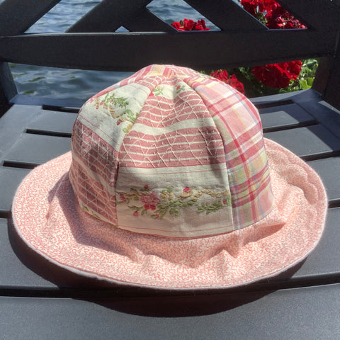 Children's Sun Hat Pink Laura Ashley Fabric, Tina Charbonneau, Lake Placid, NY