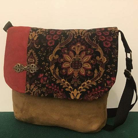 "Large Crossbody Bag, Tan ""Suede""with Floral Corduroy Fabric"