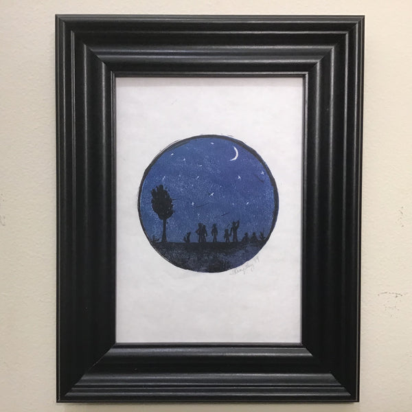"""Gaze"" Rubber Block Print  Framed and Matted, Johanna Kingsley, DeKalb Junction, NY"