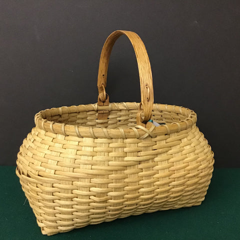 "Oval Basket with ""Indian"" Swing Handle, Sue Ulrich, Boonville"